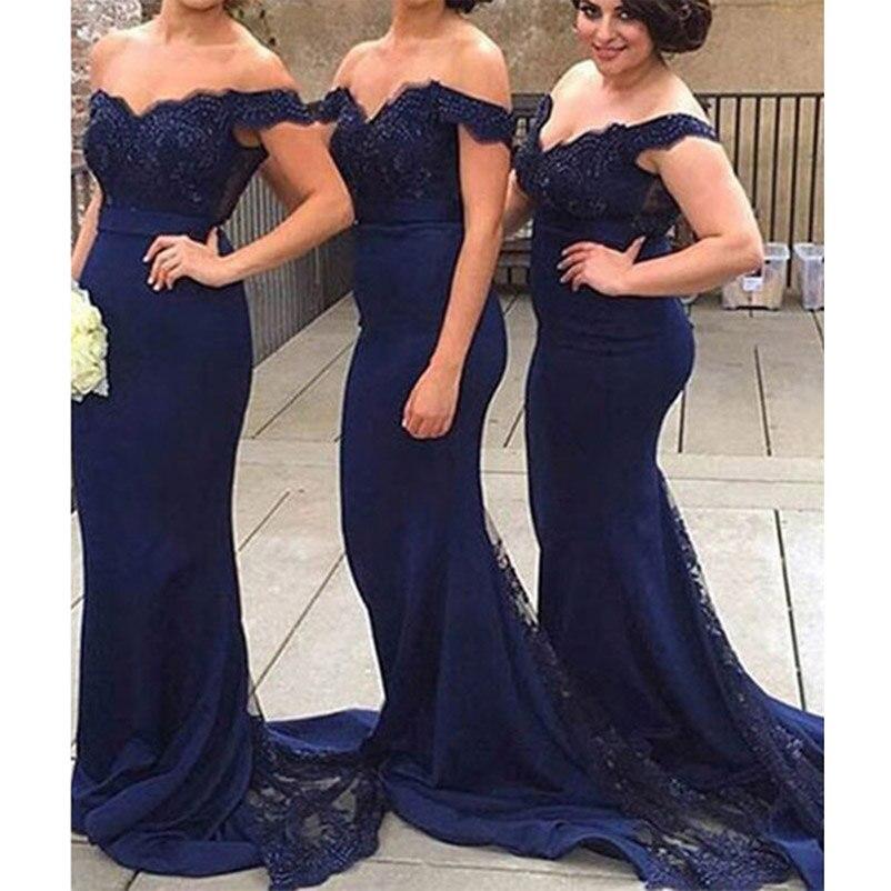 Vestidos de dama de honor con hombros descubiertos, apliques de gasa, tren de encaje, azul marino, rubor, sirena negra, trompeta, vestidos de graduación, gran oferta