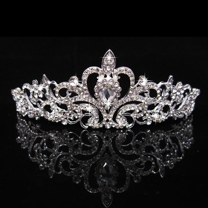 Accesorios para el cabello con diamantes de imitación brillantes Color plata cristal boda corona diadema Tiara nupcial