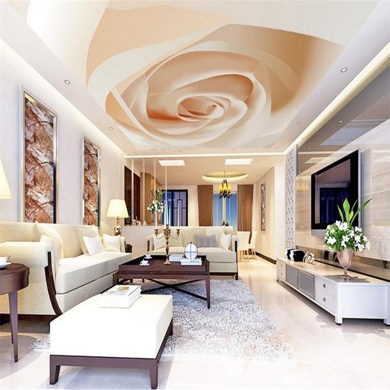Papel tapiz personalizado con decoración moderna en 3D para sala de estar, gran fondo para techo, Mural de pared de lujo con techo de rosas, papel tapiz en 3d para mural