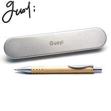 Guoyi a229 alta qualidade g2 424 esferográfica de madeira caneta aprendizagem escritório para papelaria presentes luxo caneta & hotel negócio recarga