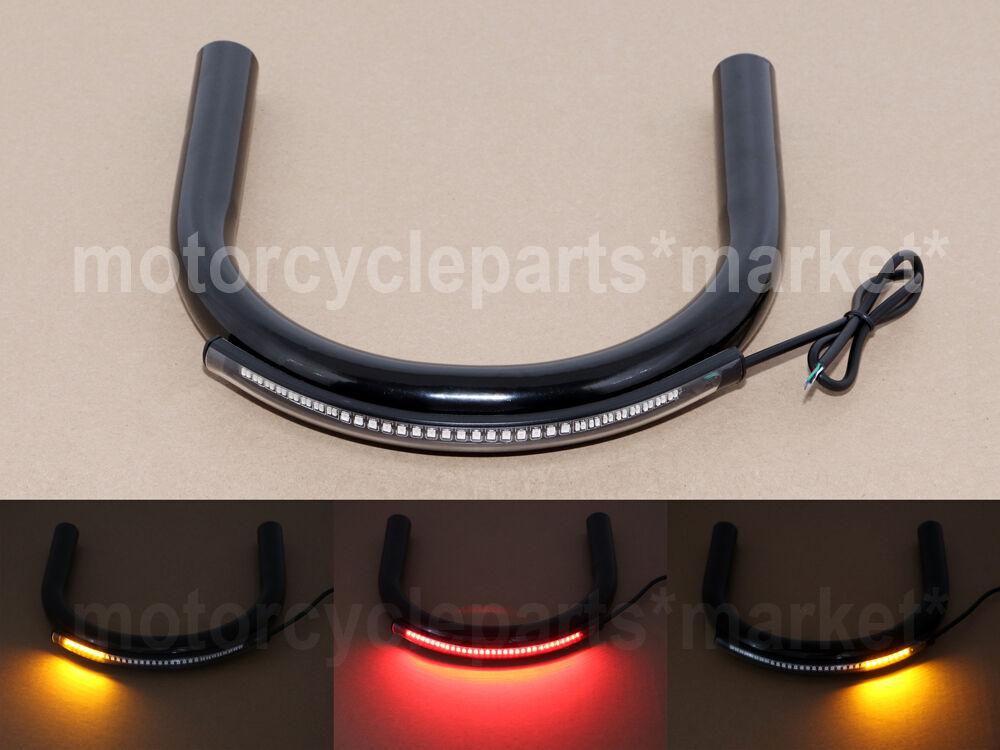 "230mm Universal 1""25mm Tube Cafe Racer Rear Seat Frame Hoop Loop with LED Stop Turn Signal Brake Lights End Flat Motorcycle"