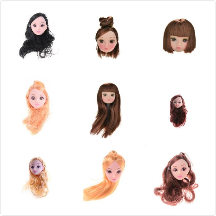 Moda belleza corto largo niños cabeza de muñeca de juguete con accesorios para cabello de bricolaje marrón negro muñeca para 1/6 BJD casa de muñecas