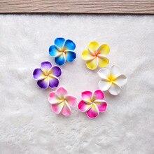 Hula-bijoux en fleur pour filles   30 pièces, mariée hawaïenne TaoHua souple, 3cm, Frangipani, en pâte polymère
