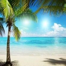 Laeacco été ensoleillé bord de mer plage palmiers scène photographie arrière-plans vinyle personnalisé caméra arrière-plans Photo pour Studio Photo