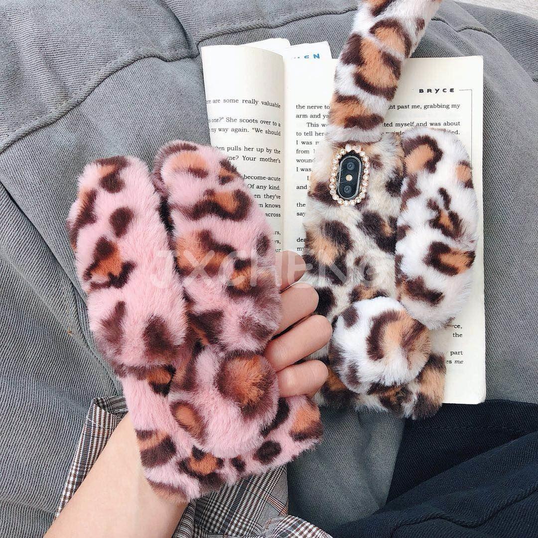 Funda de conejo 3D para iPhone 4 4S 5 5S SE 6 6S 7 8Plus XS XR XS MAX conejo lindo peludo cálido piel Bling Rhinestone felpa suave TPU cubierta