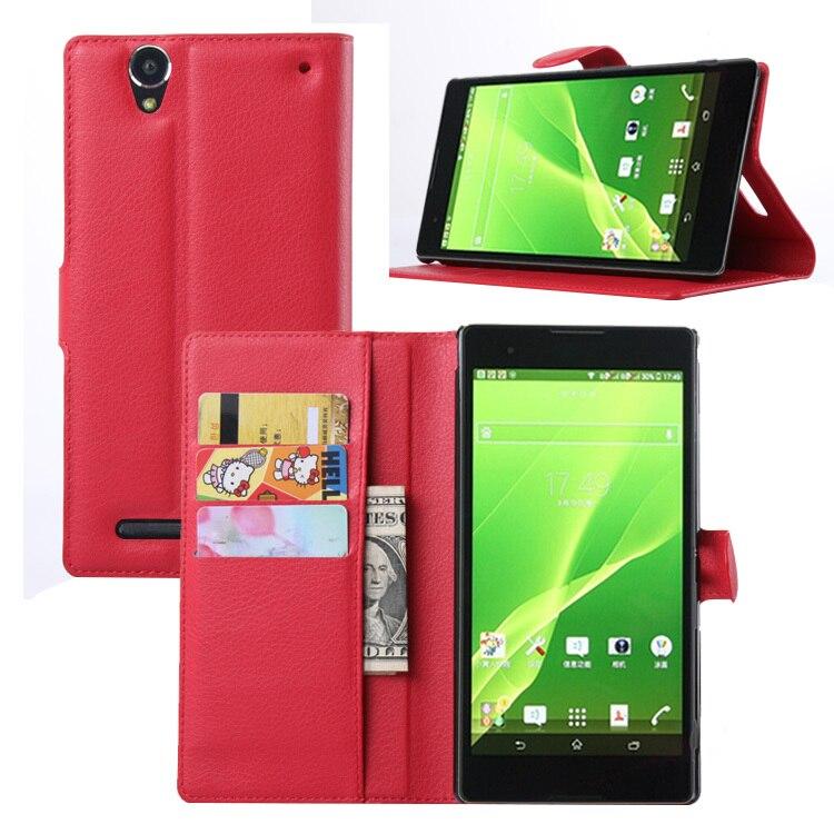 Funda cartera abatible para Sony Xperia T2 Ultra/Dual D5322 XM50h funda magnética de cuero PU Fundas ranuras para tarjetas soporte bolsa de teléfono