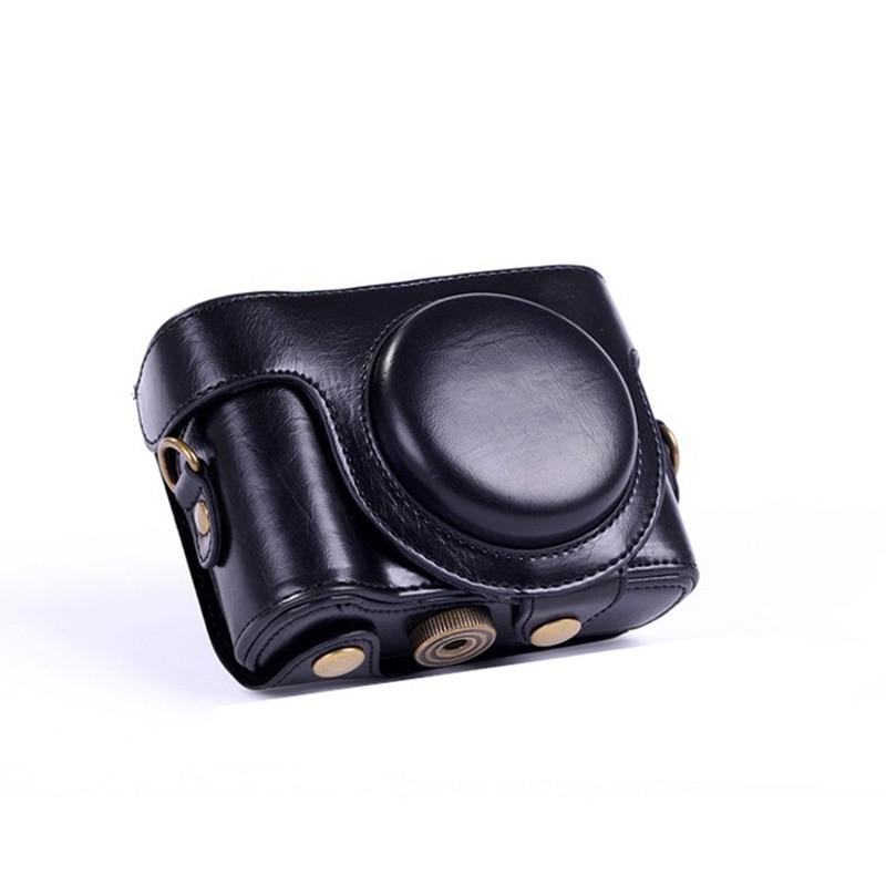 Funda de piel sintética de alta calidad para cámara Sony cyber-shot DSC-HX50V HX50 con correa