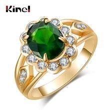 Heißer 2016 Mode Oval Grünen Edelstein Ring Gold Farbe Mosaik Weiß Kristall Schöne Frau Zubehör Großhandel