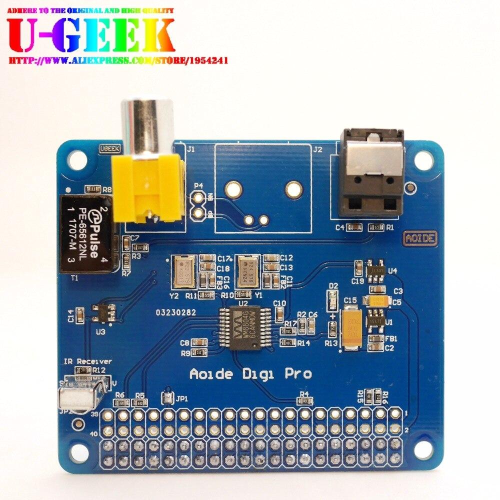 UGEEK AOIDE HIFI Digi Pro Digital Sound Card for Raspberry pi 4B Two oscillators I2S SPDIF Optical Fiber 44.1&48kHz 3B+ 3B 2B