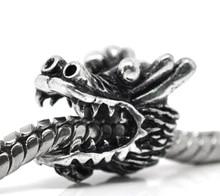 DoreenBeads Europäischen Stil Charme Zink Metall Legierung Perlen Drachen Silber Farbe Schmuck Über 13mm x 11mm, loch Ca. 5mm, 2 PCs