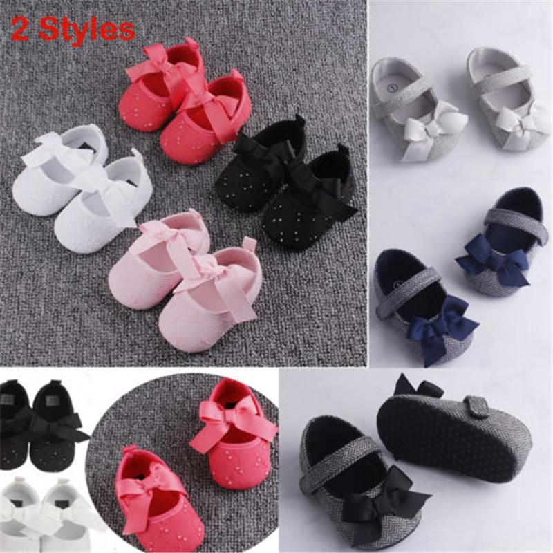 PUDCOCO חם פעוט ילדה עריסה נעלי יילוד תינוק Bowknot רך Sole Prewalker סניקרס