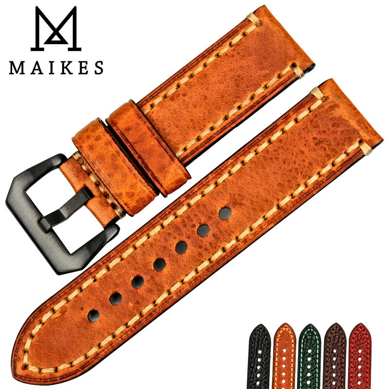MAIKES 20mm 22mm 24mm 26mm Italian Genuine Leather Watchbands Green Watch Strap Soft Leather Watch Band For Brand Watch Bracelet