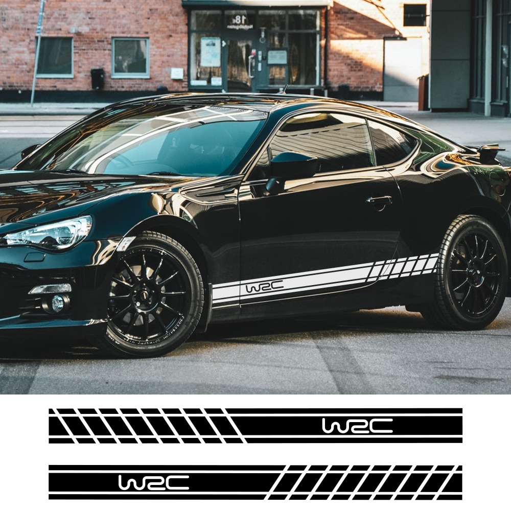 2pcs 220cmx12cm Car Long Stripe Stickers Auto Side Skirts DIY Decals Car Racing Sports Styling Stickers Car Tuning Accessories