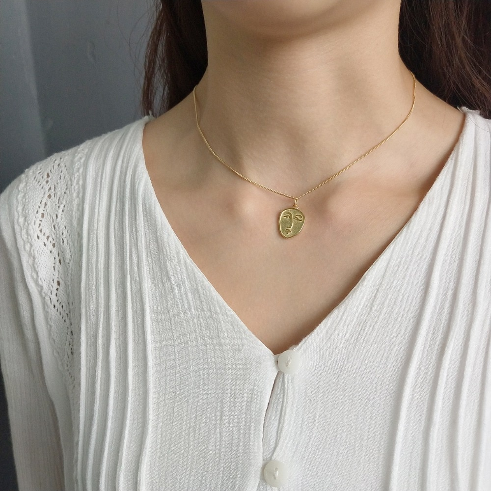 2 unids/lote 2019 Collar de plata de ley 925 con cara abstracta colgantes para mujer pareja bodas joyería regalo
