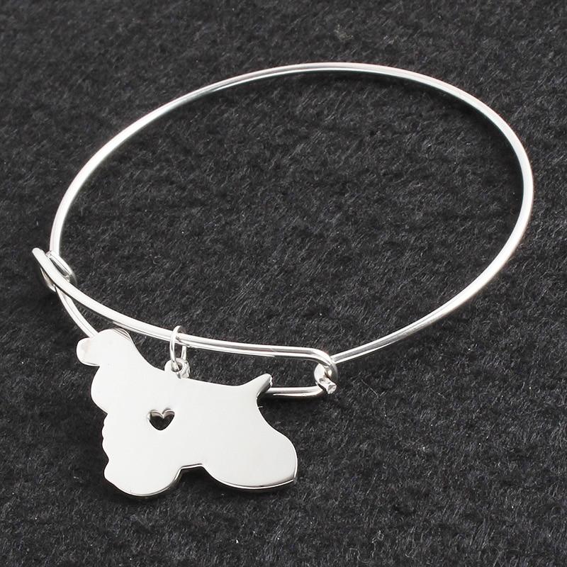 No se decolora Color plata Cocker Spaniel DIY pulsera brazalete pulseras para Mujer mascota/pulseras con perro y brazaletes para mujeres/hombres joyería