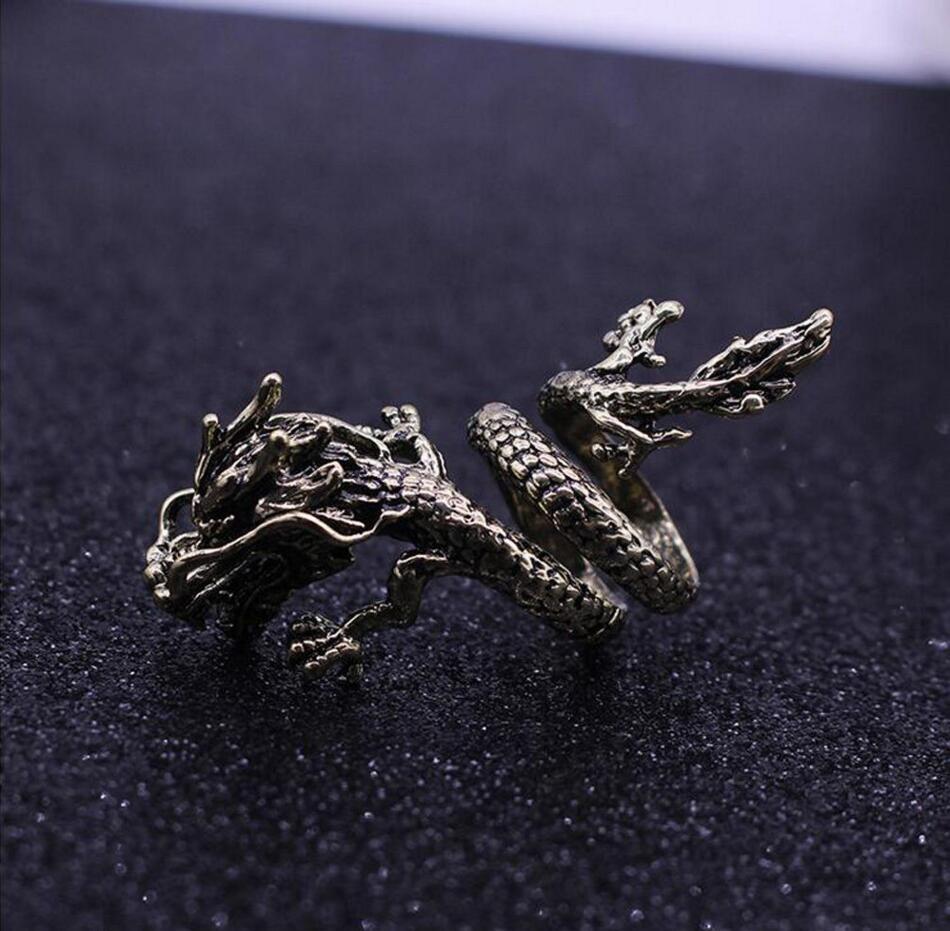 Nueva moda Retro Unisex para hombres Punk Biker titanio acero Negro Dragón plateado cabeza anillo de moda abierto Ajustable tamaños