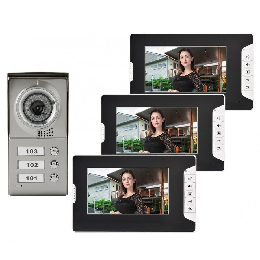 Apartamento 3 unidades con cable vídeo puerta teléfono Audio Visual timbre intercomunicador sistema de entrada sensor de movimiento campana timbre de puerta inteligente