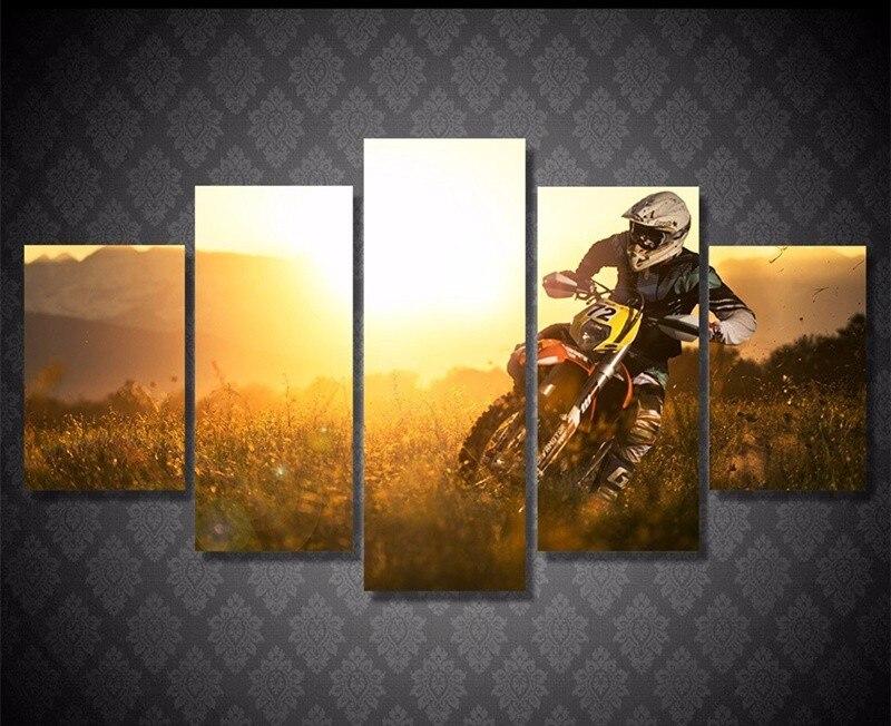 Cartel deportivo de Motocross Sunset Motor Race 5 piezas Hd lienzo impreso pintura moderna arte de pared imagen para la decoración de la sala de estar