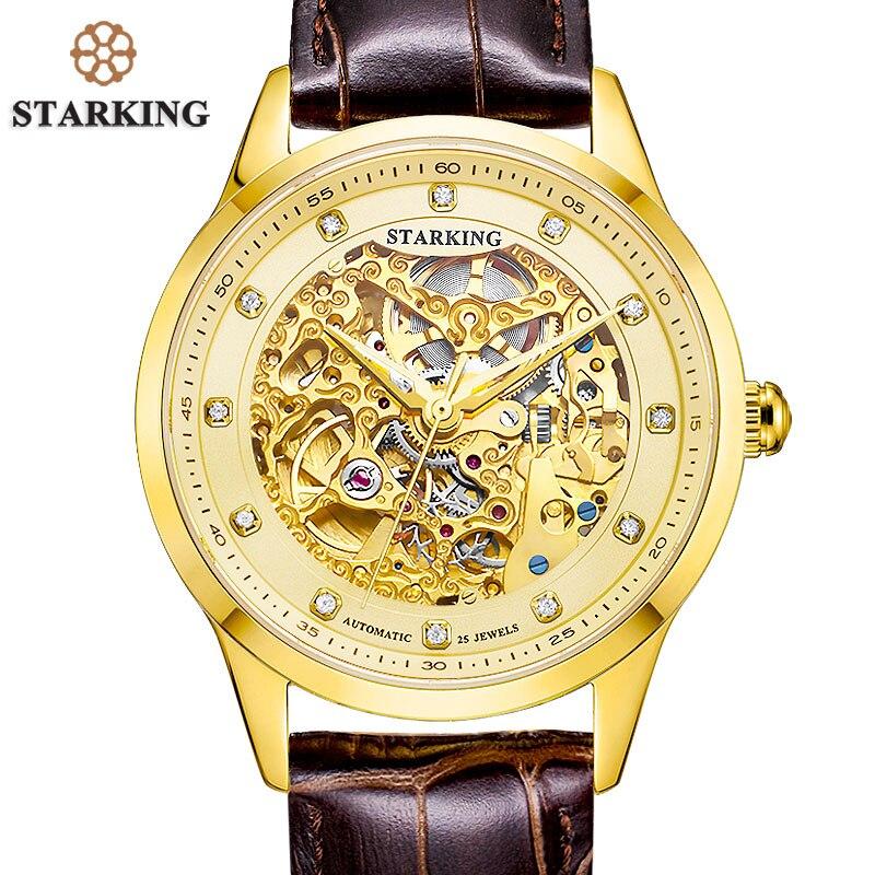 STARKING Golded automatique mécanique squelette montre hommes genève 2016 nouveauté marque de luxe véritable bracelet en cuir montre rétro