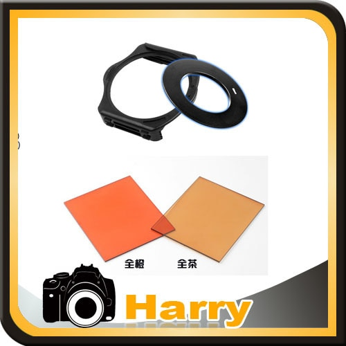 4 in 1 49/52/55/58/62/67/72/77/82mm Ring Adapter + 2 Stücke Voll Platz Filter braun/orange + Filterhalter f Cokin P Serie