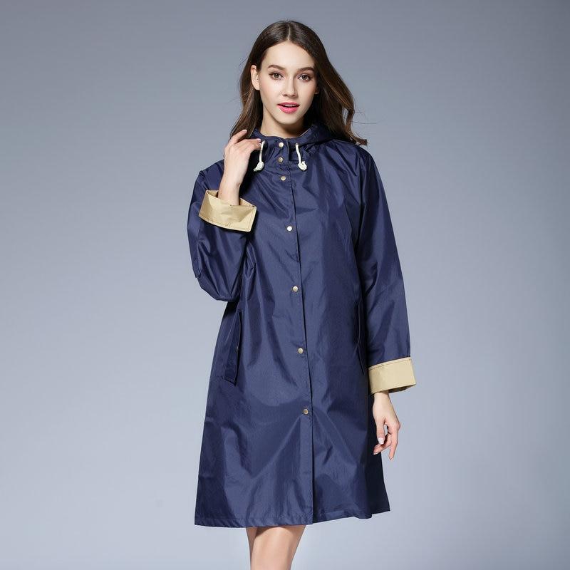 De los hombres de la moda y impermeable largo de mujer Poncho ligero piloto largo impermeable hembra impermeable para exterior Chubasqueros capa de chuva