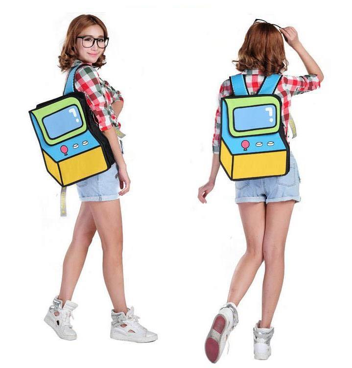 2018 New fashion 2D Games Console shape comic quality backpacks women school bags for teenagers girls travel bag mochila escolar