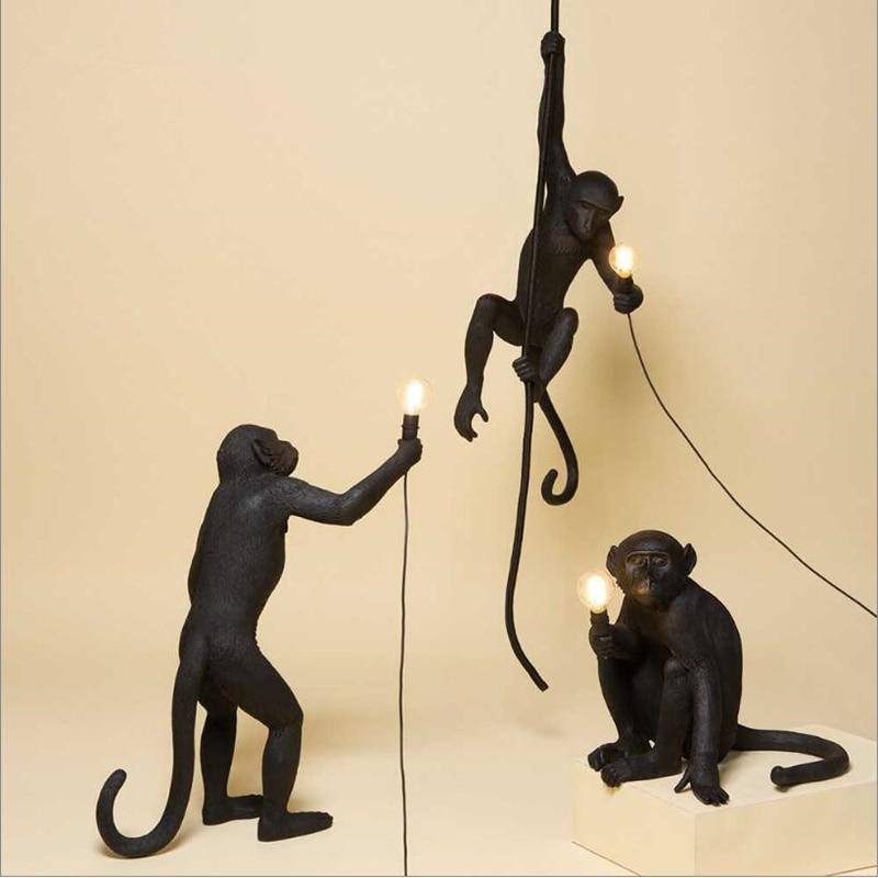 Lámpara moderna de resina con forma de mono Negro estilo Loft, cuerda de cáñamo, lámpara de mono negro, lámpara colgante de iluminación, accesorios de techo colgantes