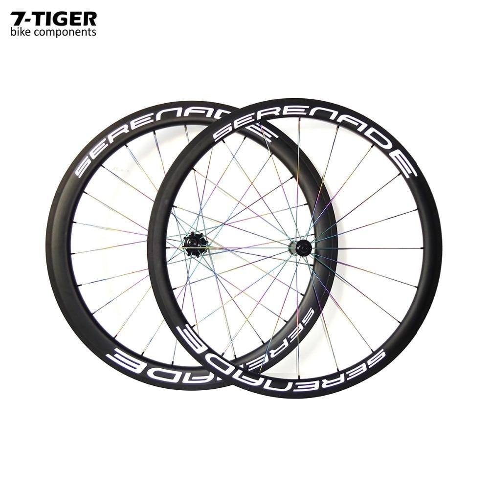 7-tiger carbon fiber 38mm clincher rims 50mm road bike wheels with Titanium spokes 700c wheelset  straight pull hubs cn nipples