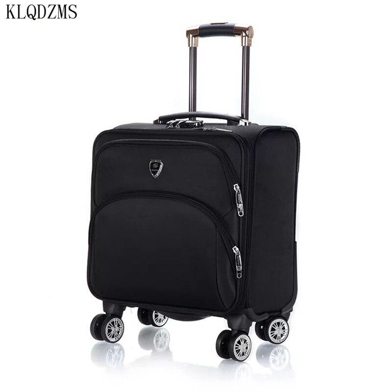 KLQDZMS 18 дюймов, чемодан на колесиках, чемодан на колесиках для деловых мужчин и женщин, водонепроницаемые дорожные сумки из ткани Оксфорд на к...