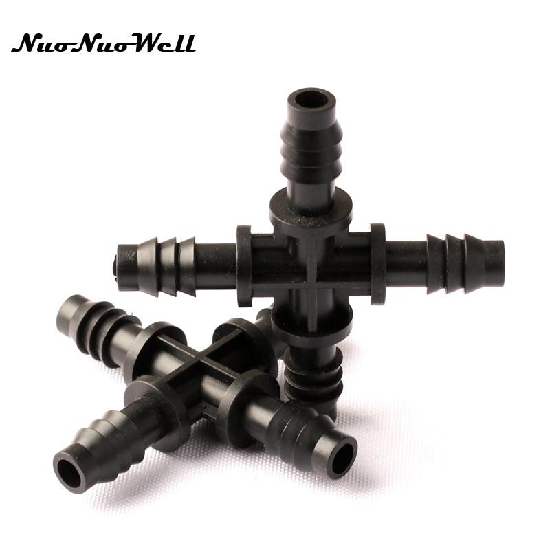 8 pcs NuoNuoWell 8/11mm Plástico Farpado Cruz Reta 4 Way Conector Spliter para Estufa Do Jardim Irrigação Por Gotejamento acessórios