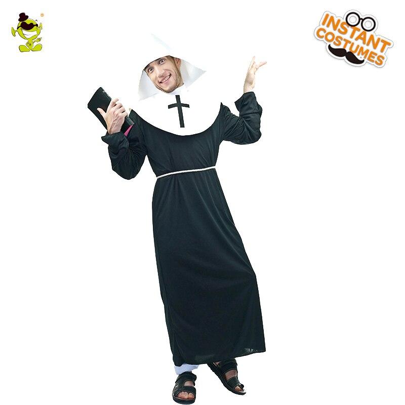 Disfraz de cristiano para hombre adulto, pastor bíblico, Natividad con bata negra, vestido de fantasía, divertido disfraz de cristiano s