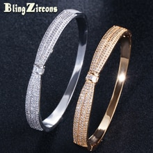BeaQueen luxe couleur or jaune Micro Pave cubique zircone Bowknot forme ronde ouverte manchette bracelets femmes bijoux arabes B143