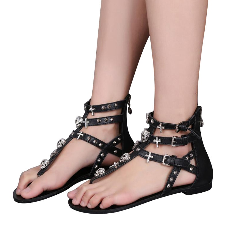 Mcckle mulher moda tanga sandálias strass cruzes caveira roma fivela apartamentos para senhoras rebites zip sapatos femininos j3918