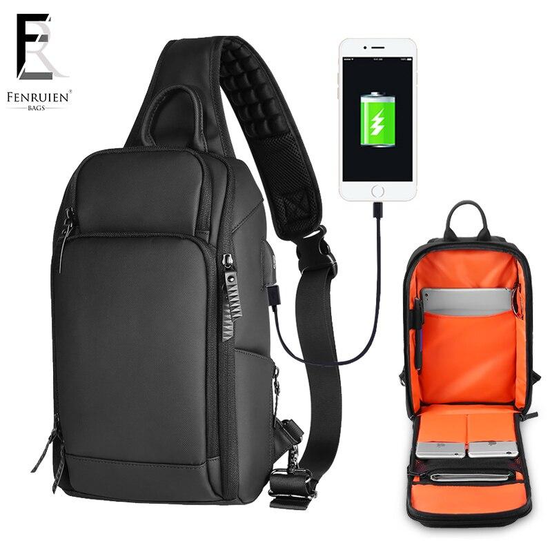 FRN 2019 de carga USB paquete pecho hombres bandolera casual bolsa de pecho repelente al agua Bolsa Bandolera de viaje hombre bolso de la honda