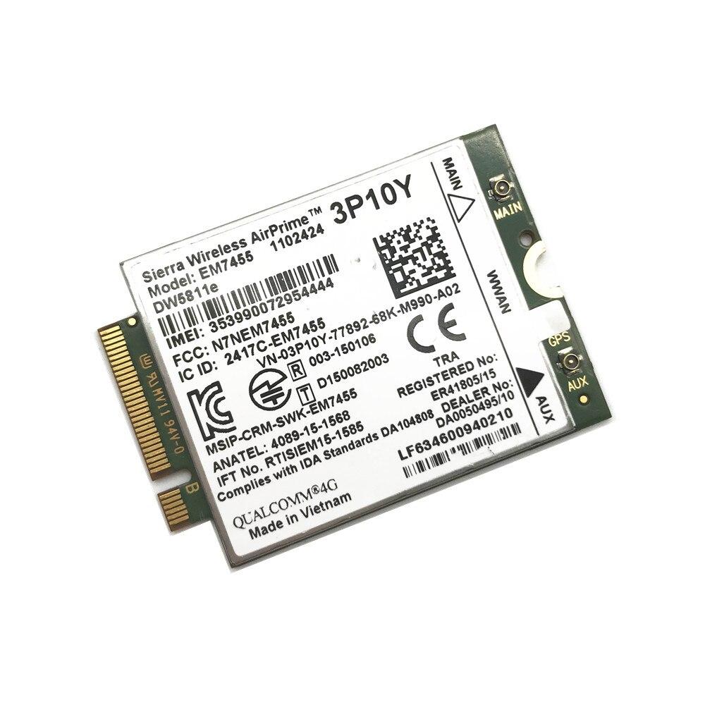 Inalámbrico EM7455 LTE 4G NGFF para DW5811E KF1W5/MR7VT/2J05X/1 DPXG/3P10Y E7270 E7470 E7370 E5570 FDD/TDD LTE 4G Cat6 Gobi6000