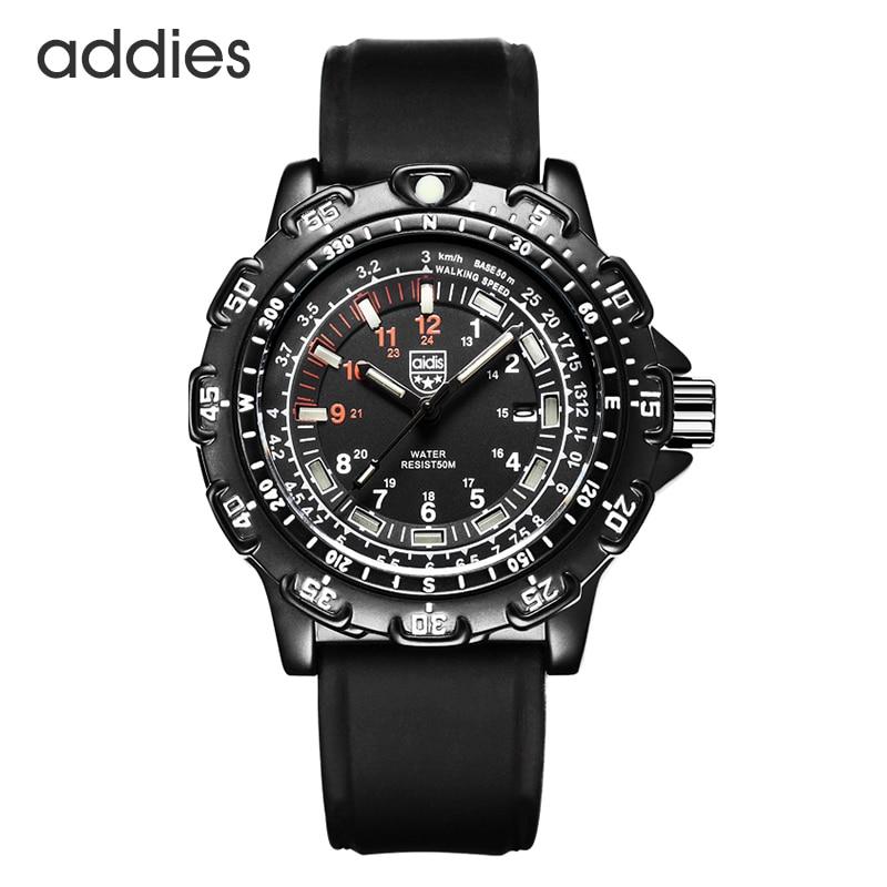 À prova d50 água 50 m militar relógios de quartzo luminoso chronograph parar relógio de luxo alça silicagel tubo luminoso mergulho relógio masculino