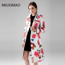 Personnalisé grande taille manteau S-7XL de haute qualité Long manteau femmes à manches longues élégant papillon fleur Rose imprimé Vintage manteau femmes