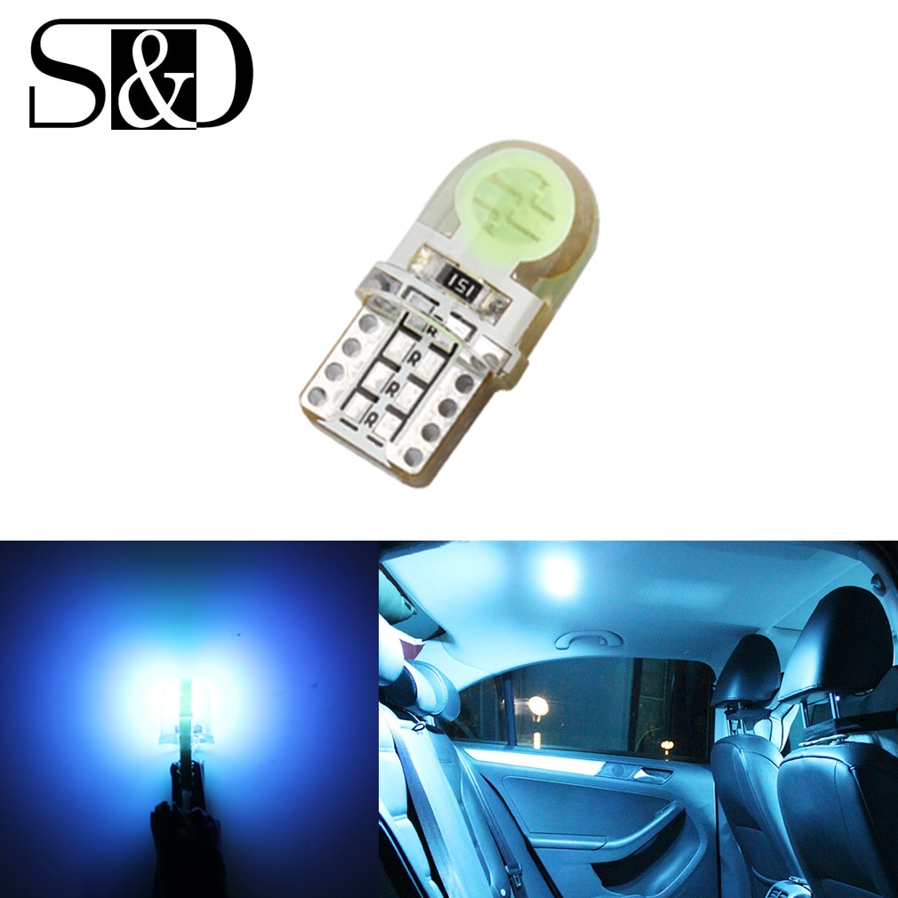 Otomatik T10 serin buz mavi 194 W5W 168 COB 8-SMD silika araba süper parlak LED dönüş yan plaka işık lamba ampulü DC12V