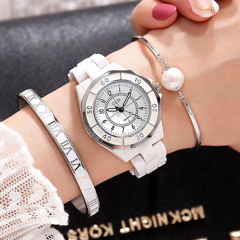 Juego de 3 piezas GEDI marca de lujo relojes de moda mujer rosa oro blanco cerámica señoras reloj de pulsera de cuarzo reloj de pulsera para mujer feminino