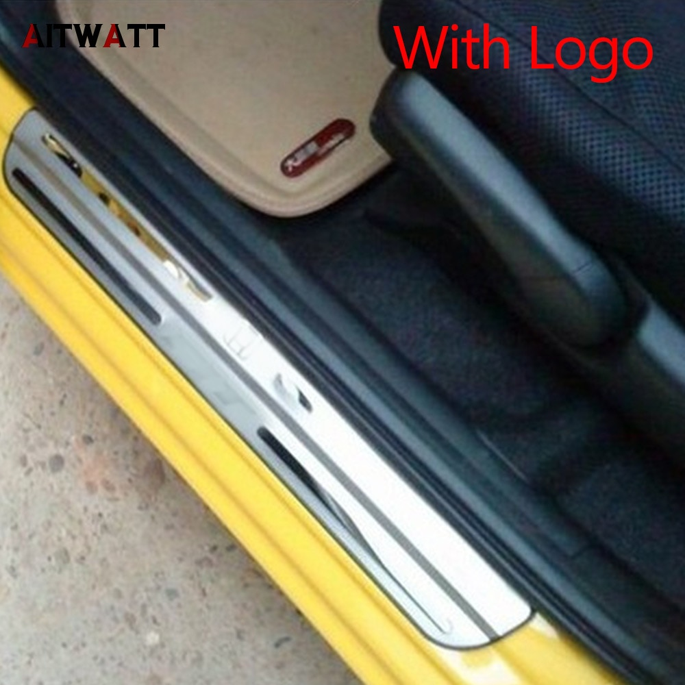 Para Honda Fit 2009 2010 2011 2012 2013 protector de umbral de puerta de acero inoxidable cubierta de placa de desgaste de Pedal Trim Car Styling 4 Uds AITWATT