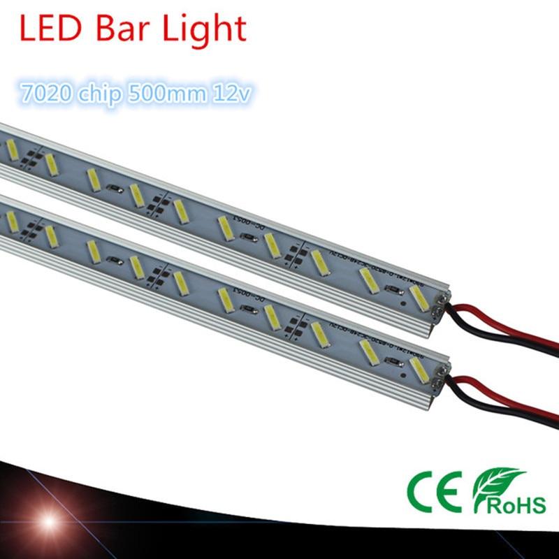 مصباح LED طويل ، 10 مصابيح LED ، أبيض دافئ ، بارد ، DC12V 7020 ، شريط ضيق ، أنبوب مع غطاء U من الألومنيوم ، صدف ، PC ، 50 درجة مئوية