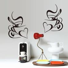 Stickers muraux rétro Double amour tasse de café   Stickers muraux en vinyle, décoration murale amovible de cuisine de Restaurant, bricolage, art mural