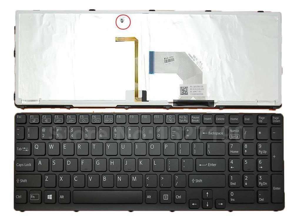 لوحة مفاتيح أمريكية لأجهزة الكمبيوتر المحمول SONY SVE17 بإطار أسود بإضاءة خلفية Win8 جديدة