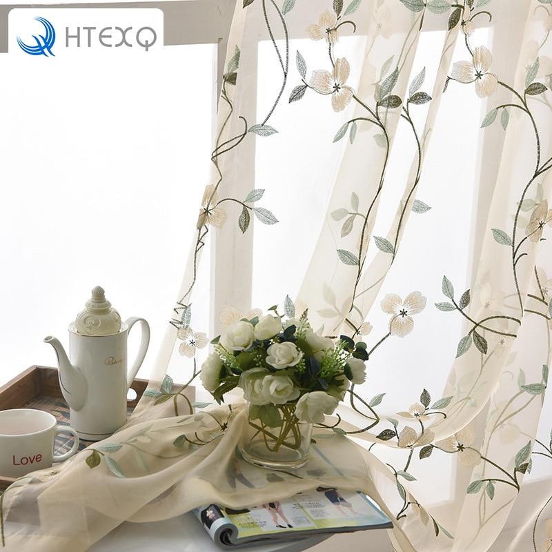 HTEXQ Floral Timbo casa tela pura tul cortinas para sala de estar de los niños puerta de la cocina y el dormitorio cortinas ventana