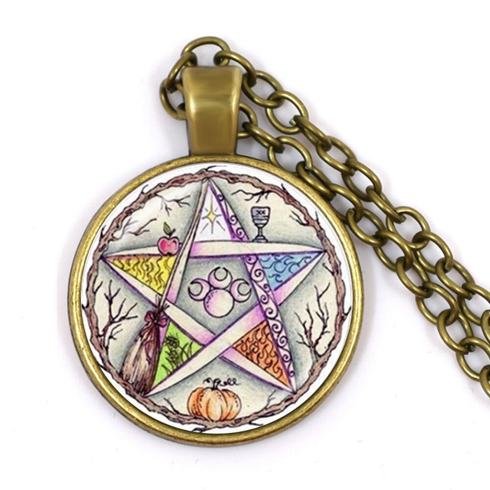 De moda collar Wiccan magia pagana Pentagonal estrella colgando Circular de cúpula de vidrio regalo damas y hombres collar de