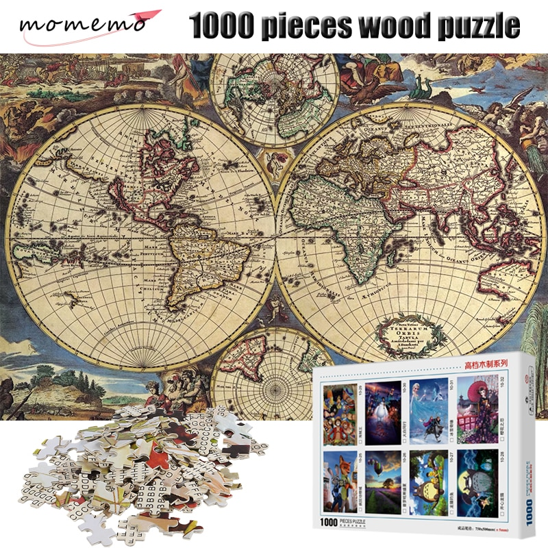 MOMEMO The Ancient Maps 1000 Pieces Wooden Puzzle 2mm Thick Jigsaw Puzzles Adult Assembling Toys