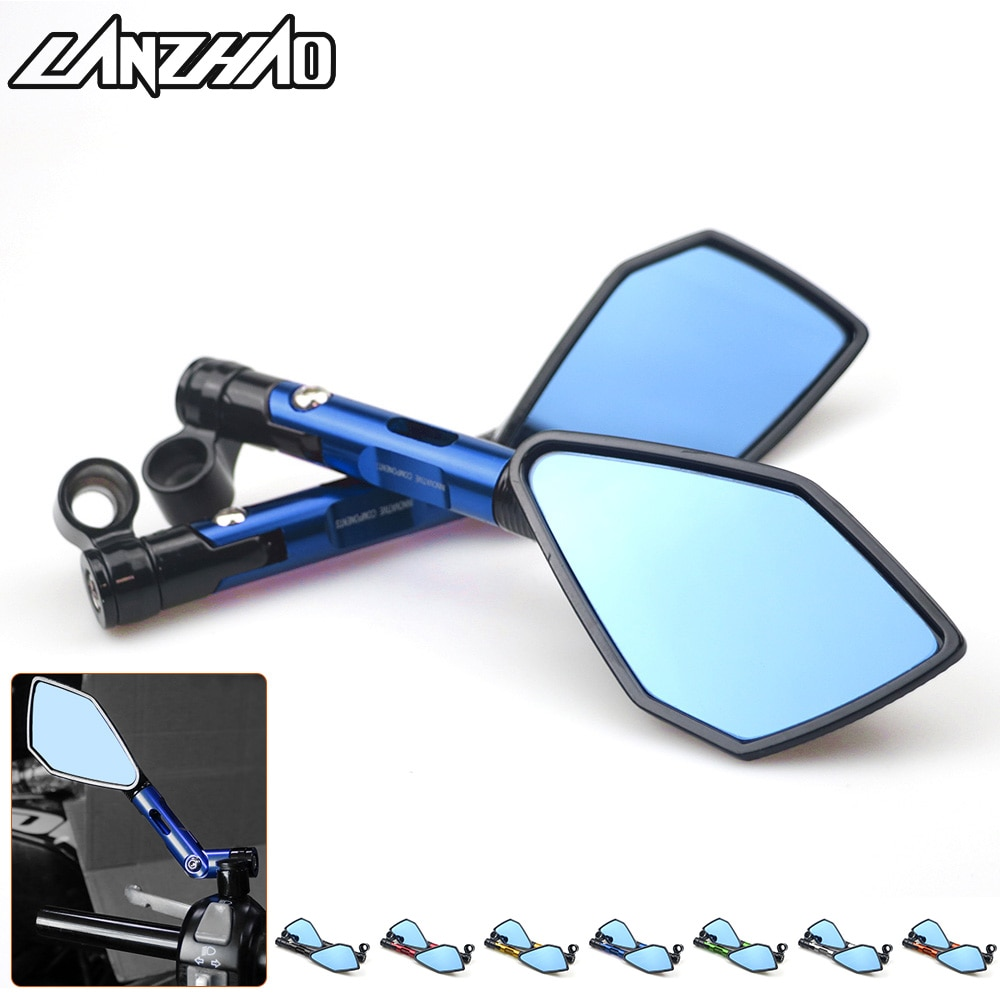 Universal cnc de alumínio da motocicleta guiador espelhos retrovisores azul anti-reflexo espelho para honda yamaha suzuki scooter ktm
