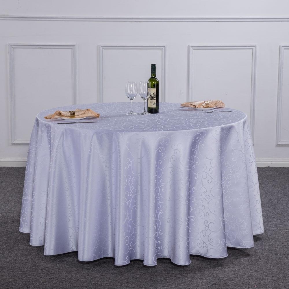 1PC tamaño de Hotel ronda mantel de mesa para cenar blanco decoración del banquete de boda rectángulo mantel poliéster lavable para casa