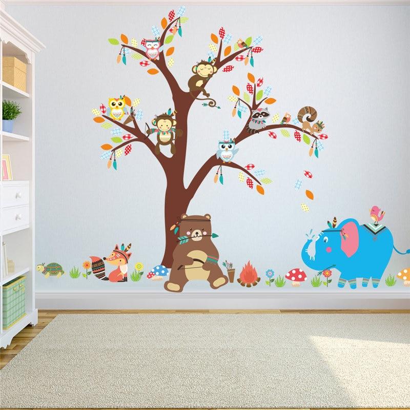 Lindo animales pegatinas de pared de árbol para el jardín de niños casa habitación decoración elefante mono arte mural de caricatura etiqueta de la pared