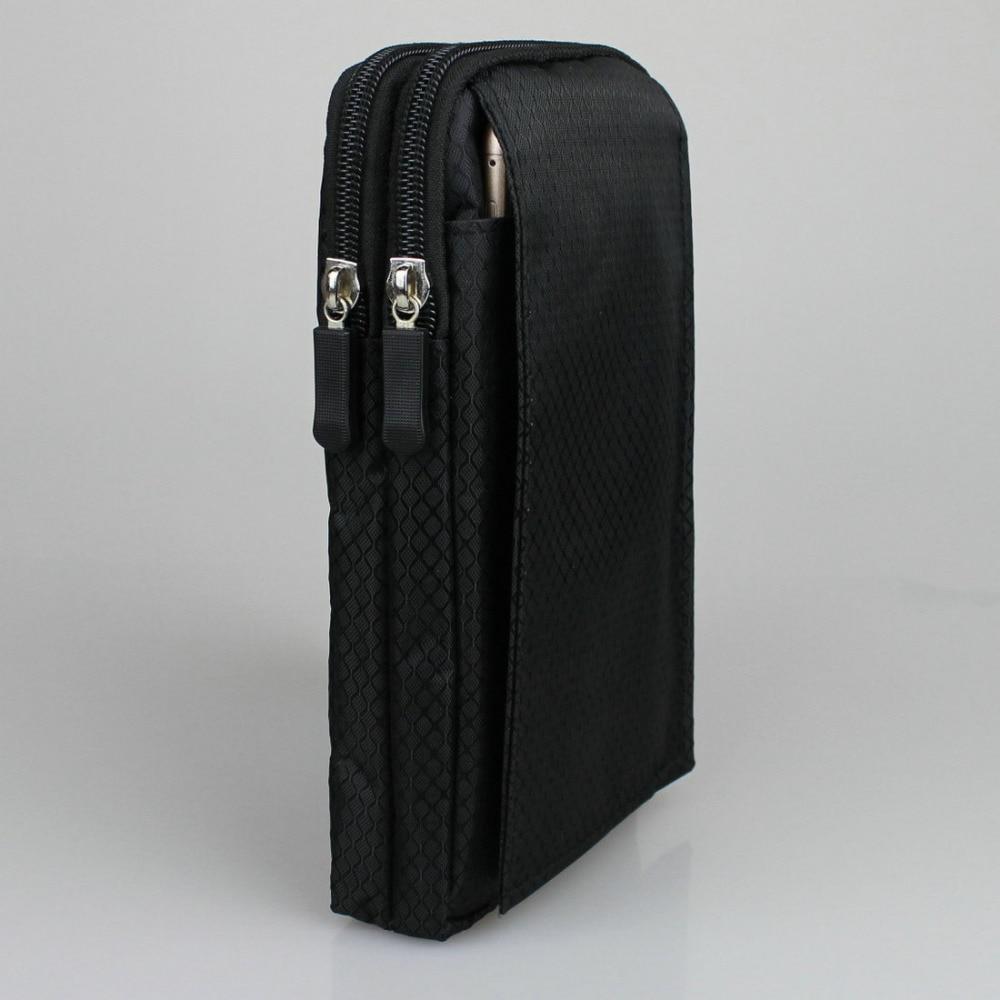 """Impermeable del teléfono móvil bolsa de Nylon cinturón de cintura bolsa de cremallera doble 3 bolsillo funda para huawei honor Nota 8 6,6 pulgadas xiaomi Max 6,44"""""""